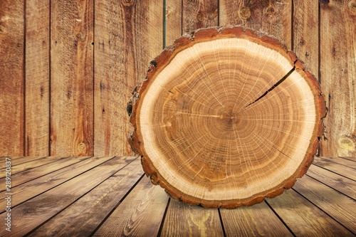 Cuadros en Lienzo  Wood round slice on wooden desk