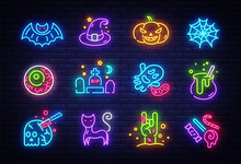 Halloween Neon Icons Set. Happy Halloween Collection Light Signs. Sign Boards, Light Banner. Neon Isolated Icon, Emblem, Design Template. Vector Illustration