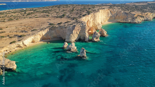 Foto auf Leinwand Blau türkis Aerial drone photo of secluded paradise beach of Kasteli in North area of Kato Koufonissi island, Koufonissia, Small Cyclades, Greece