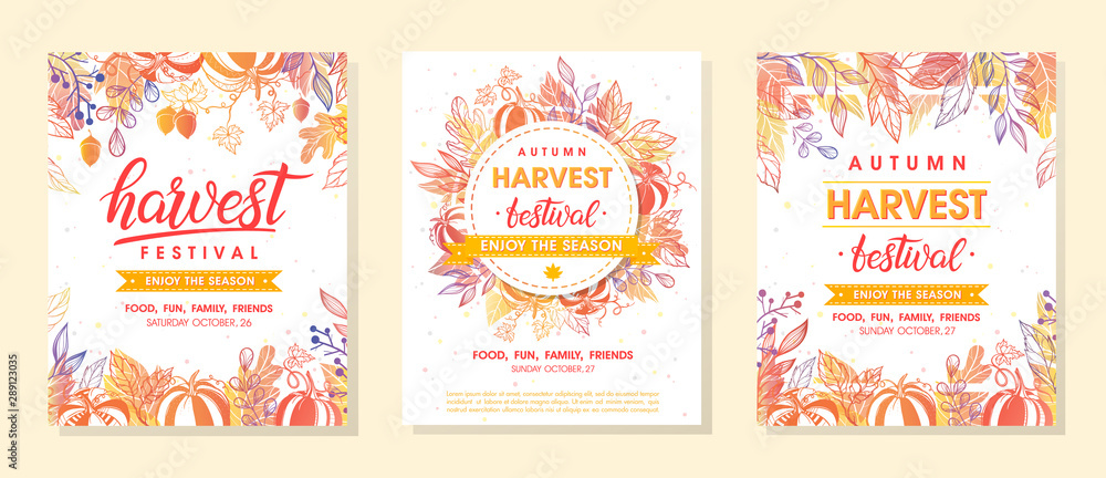 Fototapety, obrazy: Bundle of autumn harvest festival banners with harvest symbols,leaves and floral element.Harvest fest design perfect for prints,flyers,banners,invitations and more.Vector autumn illustration.
