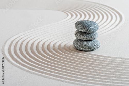 Garden Poster Stones in Sand Japanischer Zen Garten im Sand