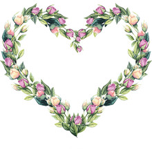 Heart Shape Wreath Of Watercol...