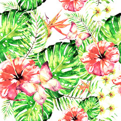 beautiful red flowers ,palm leaves, watercolor on a white