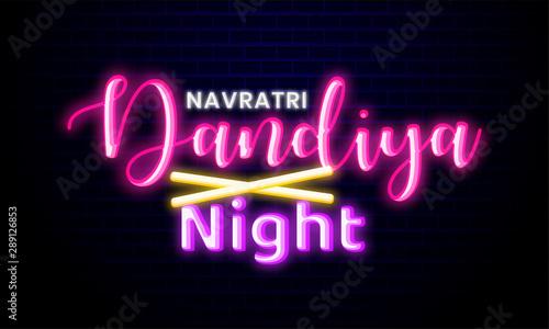Happy Navratri. Indian festival celebration Vector typography neon light text on Dandiya night.