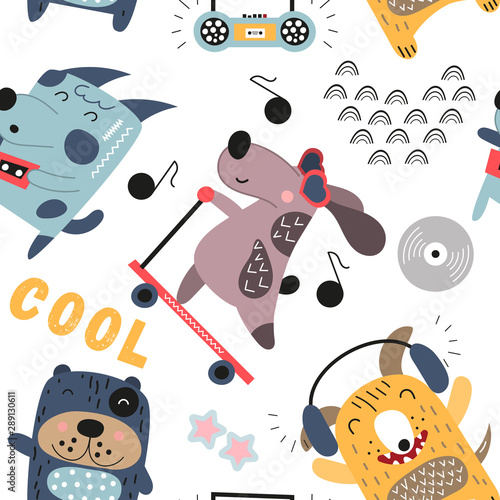 childish-colorful-seamless-pattern-with-cool-dogs-and-music-theme-in-scandinavian-style-vector-illustration-kids-illustration-for-nursery-art-great-for-baby-clothes-greeting-card-wrapping-paper