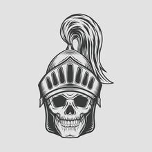 Head Skull With Knight Warrior Helmet. Vector Illustration