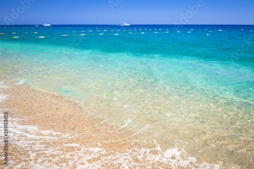 Blue lagoon of the beach on Turkish Riviera near Tekirova