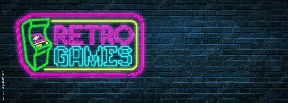 Fototapety, obrazy: Retro games neon sign