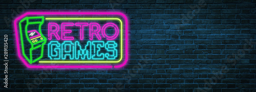Fotografie, Obraz Retro games neon sign