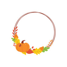 Round Autumn Banner With Colorful Fall Leaves, Pumpkin And Ladybug With Copy Space.