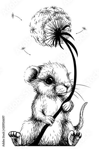 mala-mysz-trzyma-dmuchawca