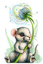 Wall Sticker. Cute Little Mouse Holds A Dandelion Flower In A Watercolor Style.