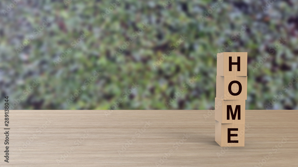 Fototapety, obrazy: Home word Wooden cubes on table vertical over blur background HD with climbing green leaves, mock up, template, banner with copy space for text, find house, rent apartment, happy family