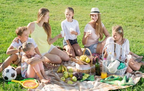 Vászonkép Portrait of young women with children on picnic