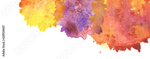 Abstract watercolor blot painted background. Texture paper. Isolated.
