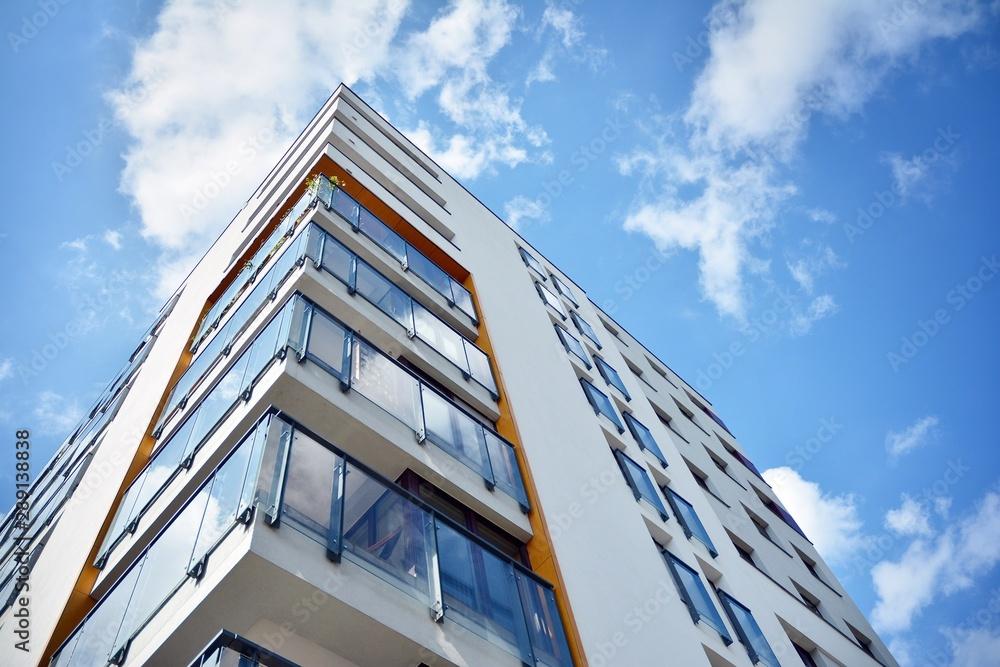 Fototapeta Modern European residential apartment buildings quarter. Abstract architecture, fragment of modern urban geometry.