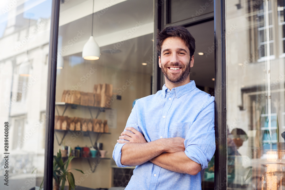 Fototapety, obrazy: Portrait Of Male Owner Standing Outside Coffee Shop