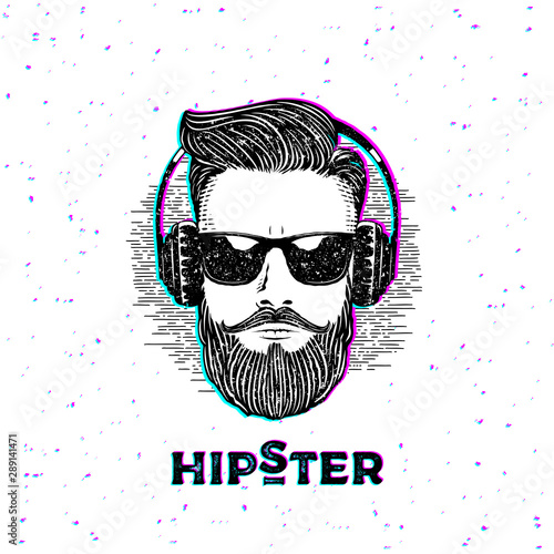 Photo Hipster Beardman Anaglyph Grunge White Vector Illustration
