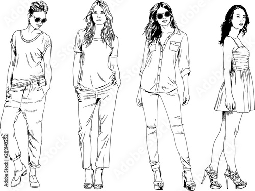 vector drawings on the theme of beautiful slim sporty girl in casual clothes in Fototapeta