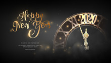 Happy New Year 2020. Lock In Style Low Poly Wireframe Art On Blackbackground. Concept For Holiday Or Magic Or Miracle. Effect Starry Sky. Polygonal Illustration With Connected Dots And Lines.Vector