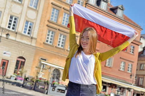 Girl in the city - Warsaw, Poland - fototapety na wymiar