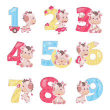 Cute Numbers With Baby Giraffe Cartoon Illustrations Set. School Math Funny Font Symbols And Kawaii Animals Characters. Kids Scrapbook Stickers. Children Birthday And Anniversary Numbers Collection