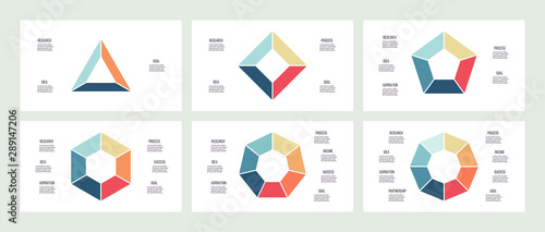 Obraz Business infographics. Triangle, square, pentagon, hexagon, heptagon, octagon. Charts with 3, 4, 5, 6, 7, 8 steps, options. Vector diagram. - fototapety do salonu