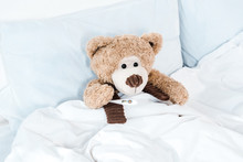 Teddy Bear On Bed With White B...