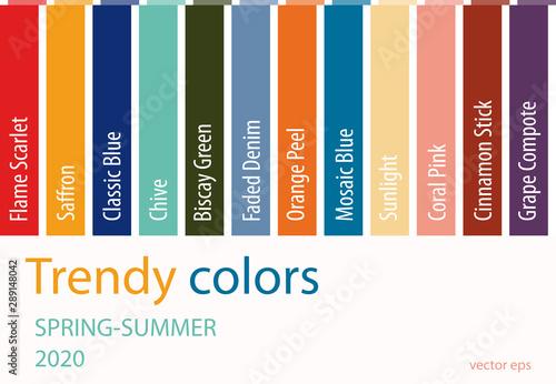 Summer Color Palette 2020.Fashion Color Trend Spring Summer 2020 Palette Fashion