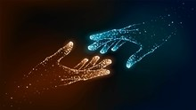 Two Hands Of Glowing Particles, Orange And Blue, Help, Support