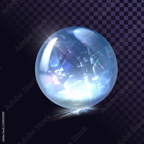 Canvas Print Sparkling crystal ball, ice ball, shiny round shape
