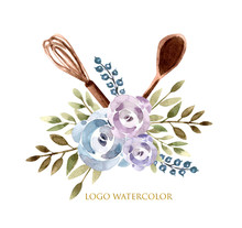 Logo For Cake Shop And Bakery, Cook, Kitchen With Floral Elements Leaves And Flowers Roses And Cooks. Watercolor Illustration.