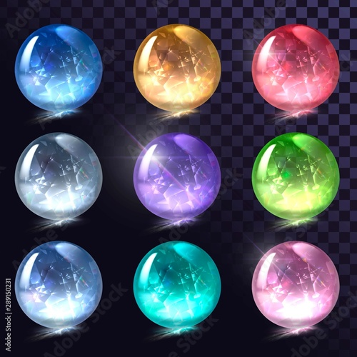 Valokuva Vector set of sparkling crystal balls, shiny round shapes