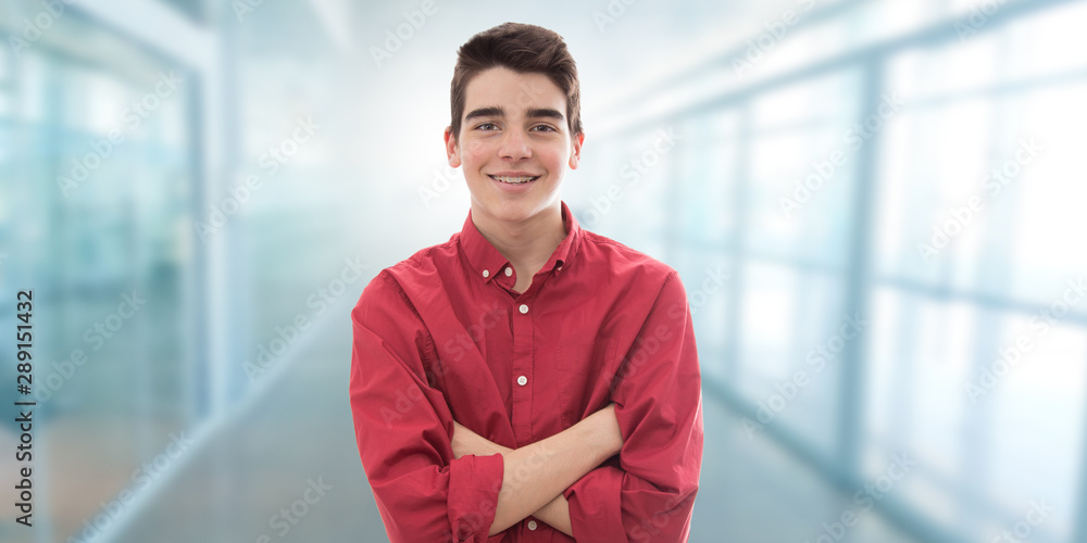 Fototapeta portrait of young man or student indoors