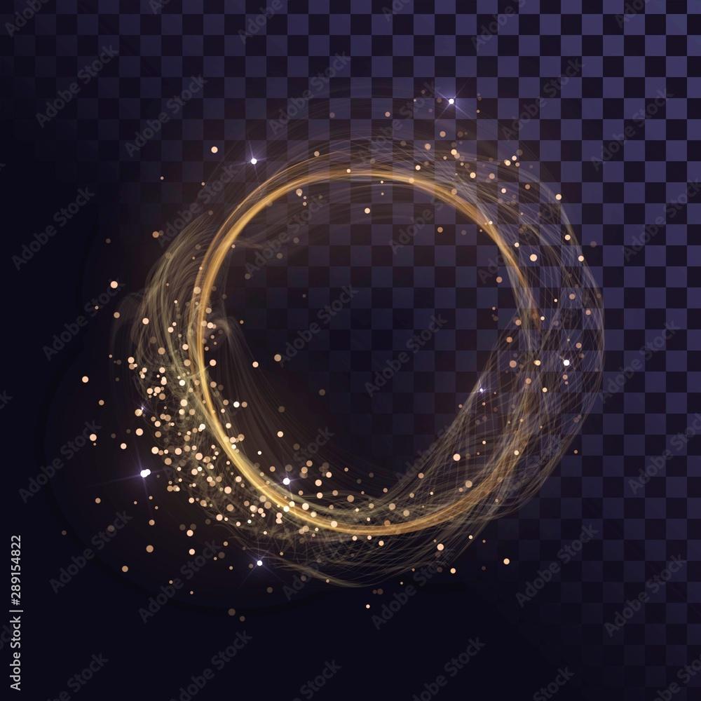 Fototapety, obrazy: Wavy round gold frame, shining ring with sparks