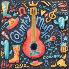 Country Music Print Concept For Postcards Or Festival Banners. Hand Drawn Illustration In Textured Flat Doodle Style. Guitar With Written Lettering.
