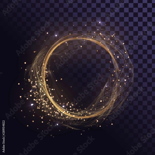 Fotografía  Wavy round gold frame, shining ring with sparks