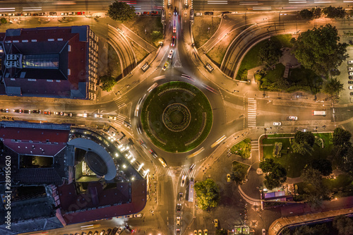 Foto auf Leinwand Budapest Budapest, Hungary - Aerial drone view of illuminated Clark Adam square roundabout from above at evening with traffic and light trails