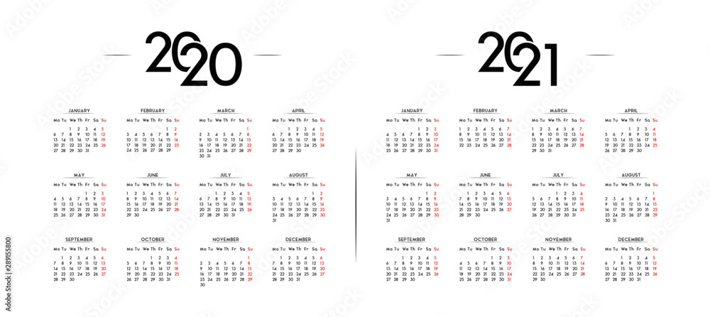 Fototapeta English Minimalist Calendar Year 2020 and 2021