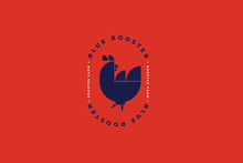 Dark Silhouette Of Rooster On Red Background. Poultry Logo Template. Image Can Be Used For Packaging Design, Restaurant Menus, Market Design, Butcher Shops And Chicken Farm. Vector Illustration.