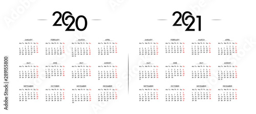 Obraz English Minimalist Calendar Year 2020 and 2021 - fototapety do salonu