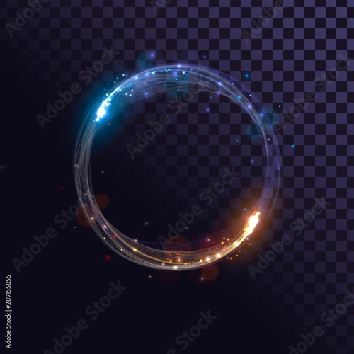 Fototapeta  Blue and orange flash, glow ring, shiny spin effect with sparks