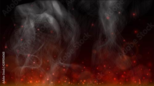 Obraz na płótnie Background with sparks of fire and smoke, bonfire