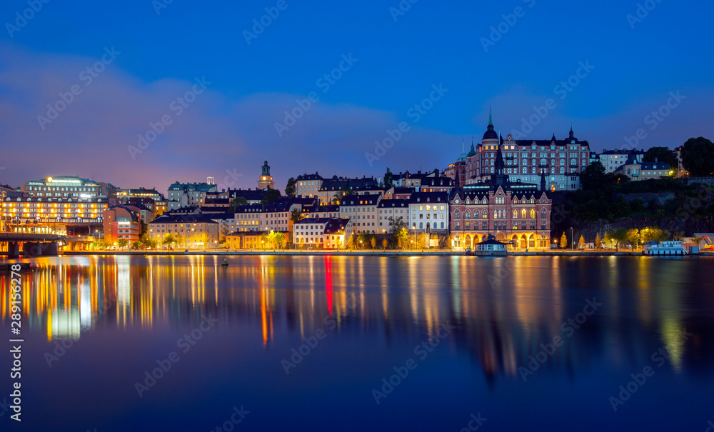 Fototapety, obrazy: View of Stockholm Sweden at night