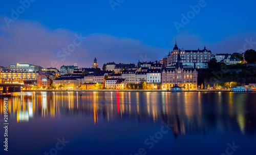 Foto auf AluDibond Stockholm View of Stockholm Sweden at night