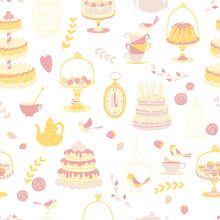 Birthday Party Kids. Afternoon Tea Seamless Pattern. Different Cakes And Gifts. Vector Illustration In Simple Cartoon Hand-drawn Scandinavian Style. Vintage In Pastel Pink And Yellow Colors