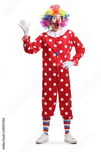 Fotografía Cheerful clown waving hello