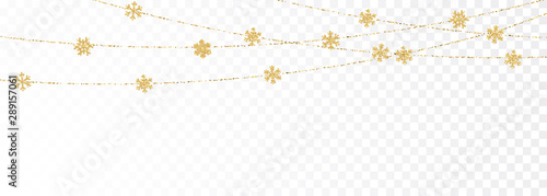Fotomural  Christmas or New Year golden decoration on transparent background