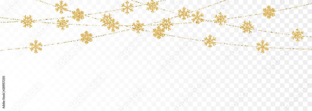 Fototapeta Christmas or New Year golden decoration on transparent background. Hanging glitter snowflake. Vector illustration