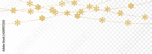 Obraz Christmas or New Year golden decoration on transparent background. Hanging glitter snowflake. Vector illustration - fototapety do salonu